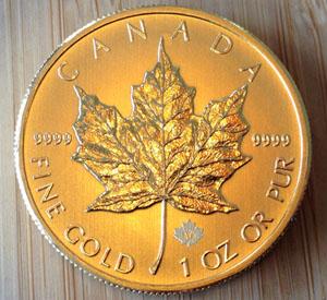 24 karat guldmønt (Canadian Maple Leaf 2014)
