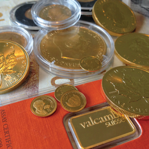 Guldmønter og -barre